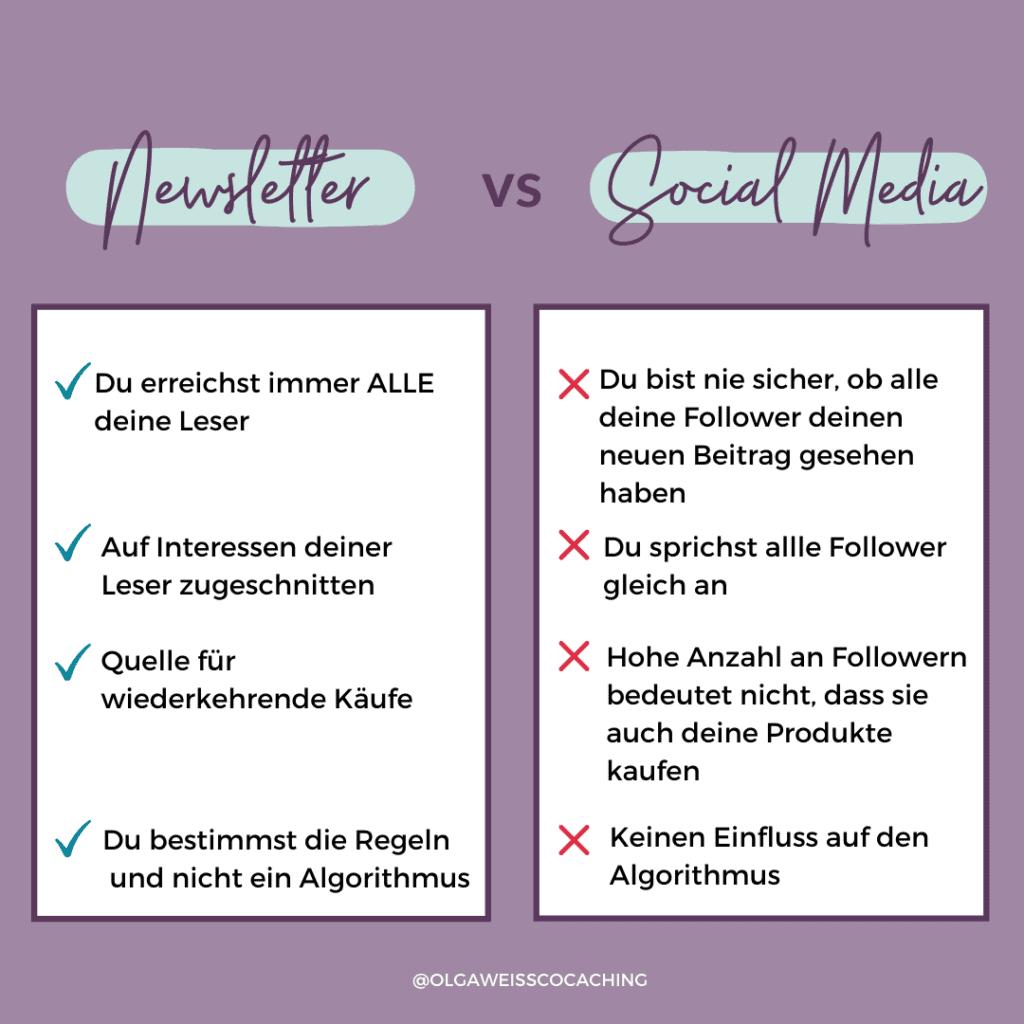 5 Mythen über Newsletter - Infografik über die Unterschiede von Newsletter und Social Media