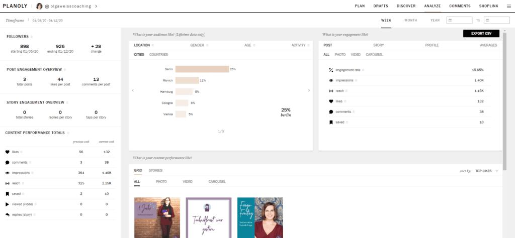 Analysebereich des Online-Tools Planoly zum Auswerten der Instagram-Beitraege