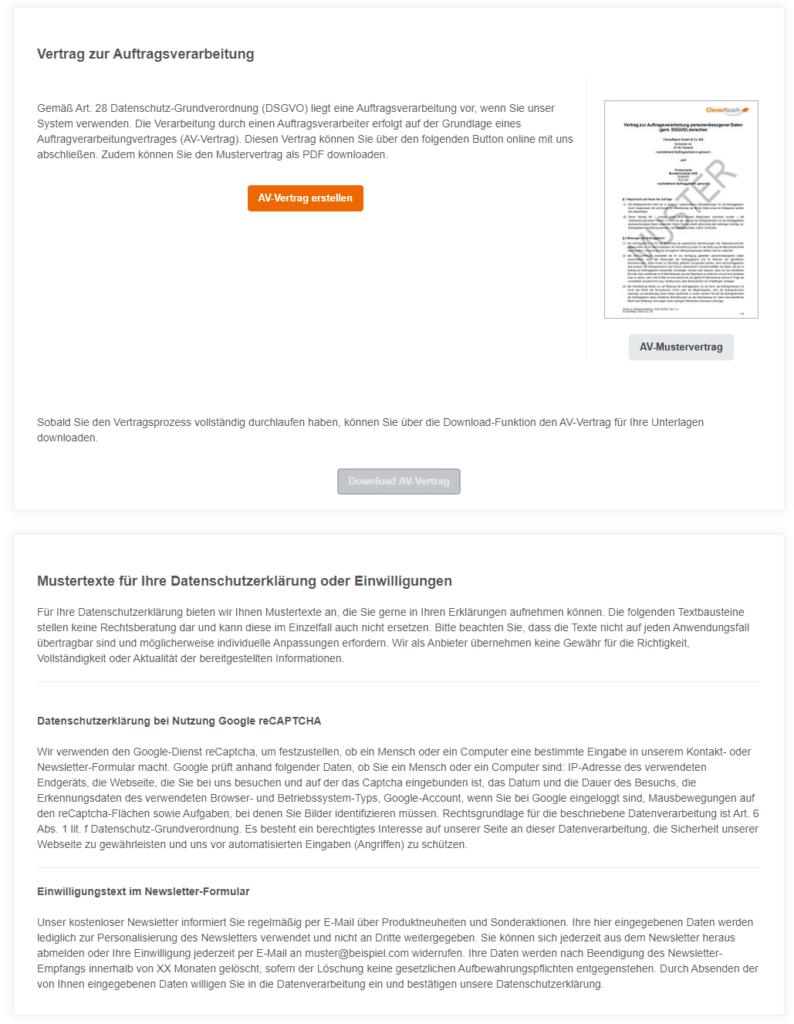 Auftragsverarbeitungsvertrag bei CleverReach - Newslettervergleich von 4 kostenlosen Newsletter-Tools