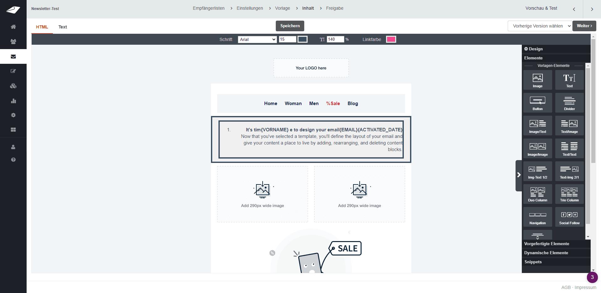 Drag-and-Drop-Editor bei CleverReach - Newsletter-Vergleich von vier kostenlosen Newsletter-Tools