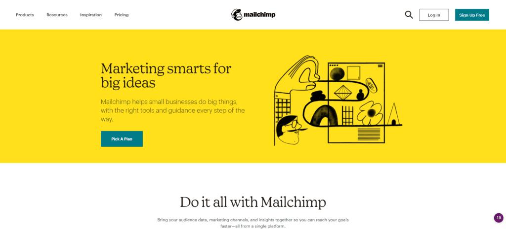 Mailchimp-Startseite