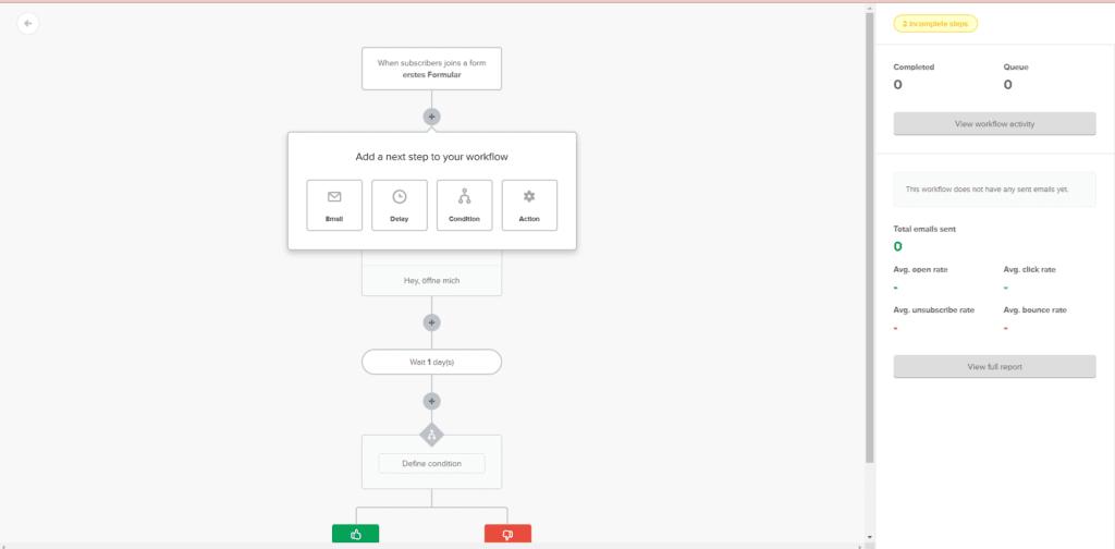 Automatisierungen in MailerLite - Newsletter-Tool Vergleich von 4 kkostenlosen Tools.