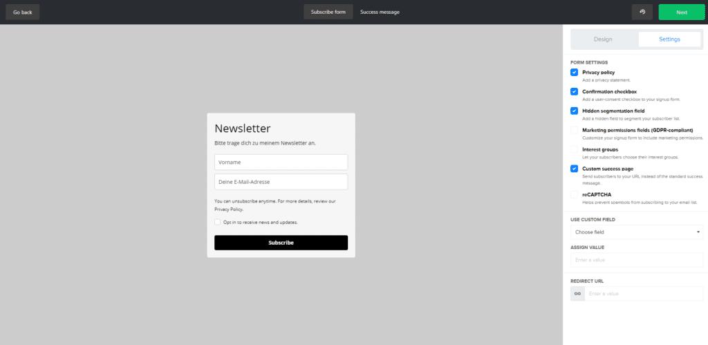 dsgvo-konformes Anmeldeformular mit MailerLite erstellen - Newsletter-Vergleich von 4 kostenlosen Newsletter-Tools