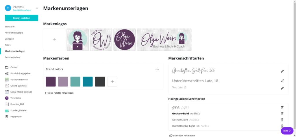 Markenunterlagen bei Canva dem Online-Tool für Grafiken