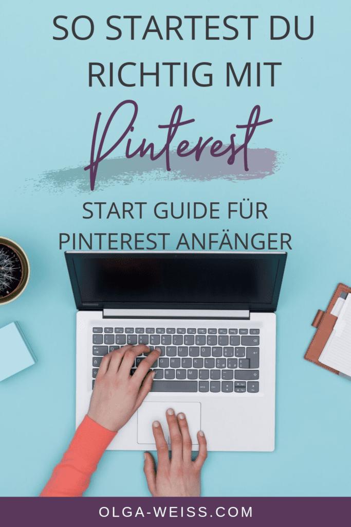 Laptop von oben mit einer tippenden Hand, Pinterest Grundlagen für einen erfolgreichen Start auf Pinterest