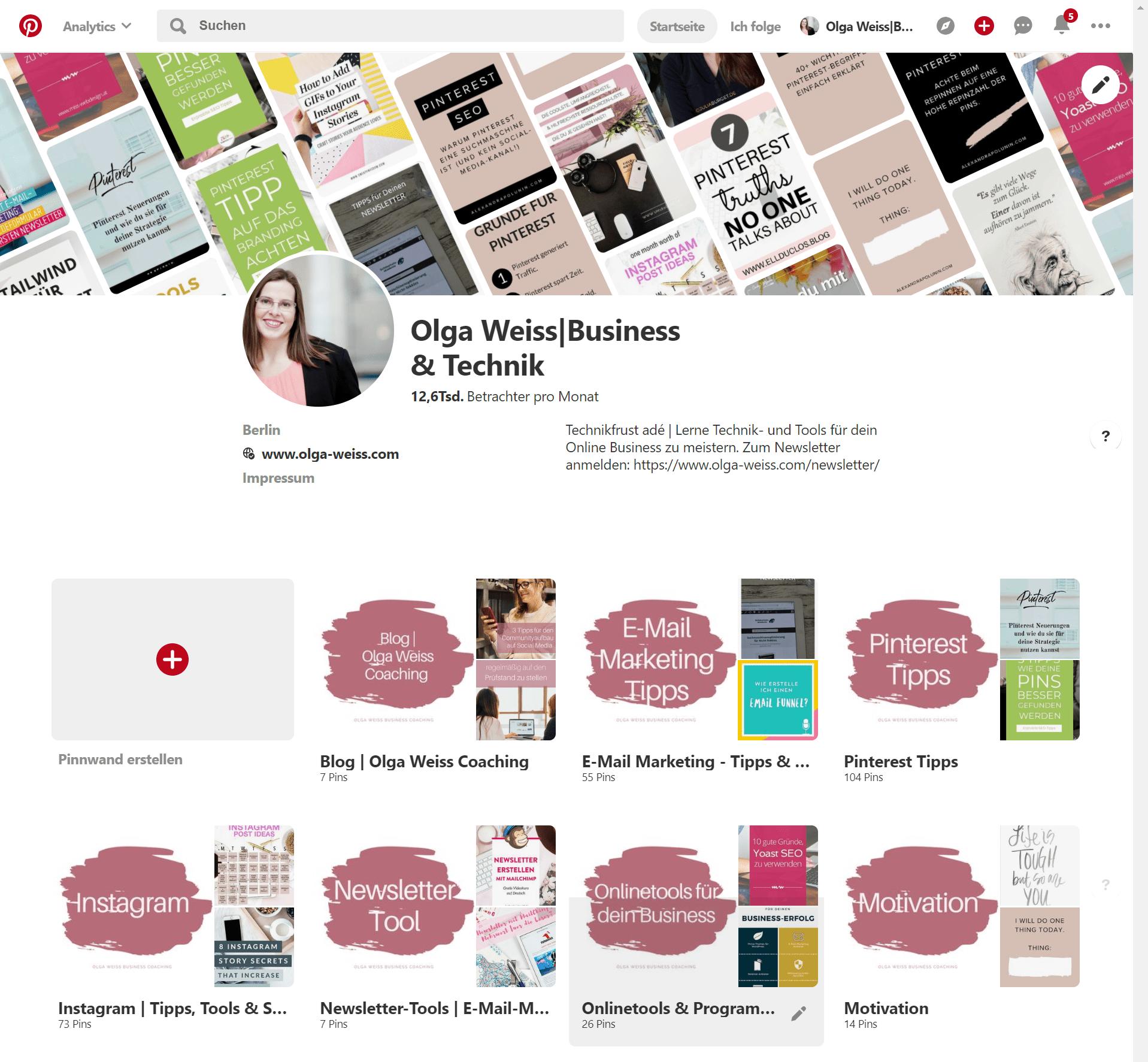 Pinterest Profil Olga Weiss Coaching