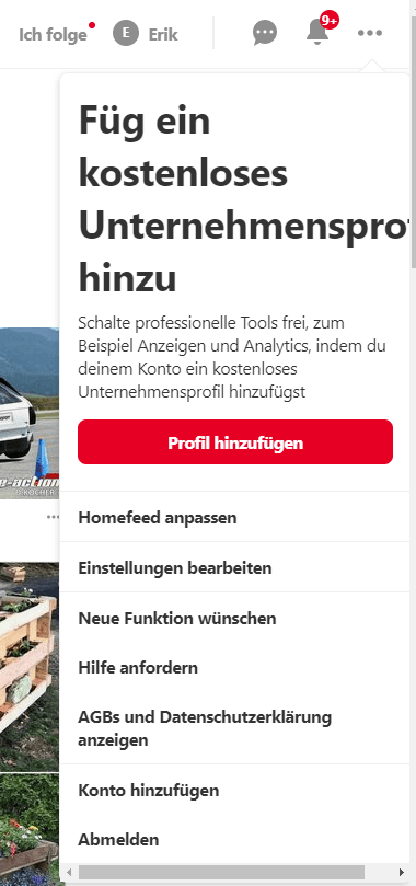 Pinterest Profil in ein Business Profil umwandeln