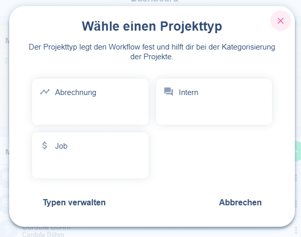 Wähle zu jedem Projekt einen Projektyp im Online-Tool awork.io