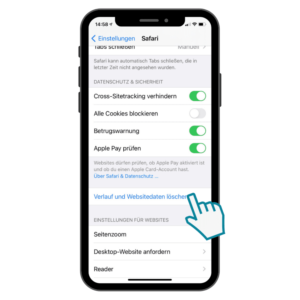 Safari Cache löschen am Smartphone - Schritt 2