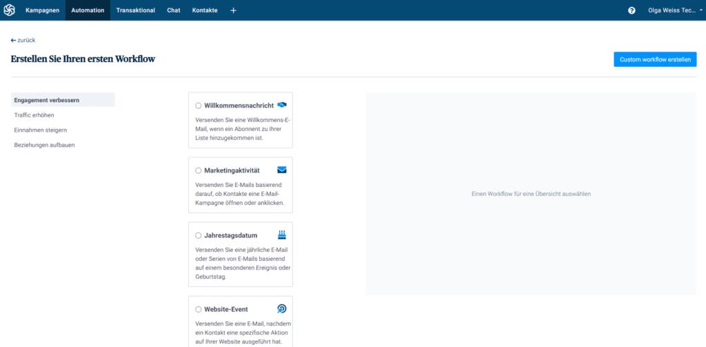 Vorgefertige automatisierte Sequenzen bei Sendinblue - Newsletter-Tool-Vergleich von 4 kostenlosen Newsletter-Tools