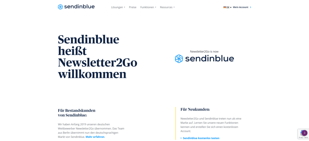Sendinblue Startseite - Vergleich von kostenlosen Newsletter-Tools