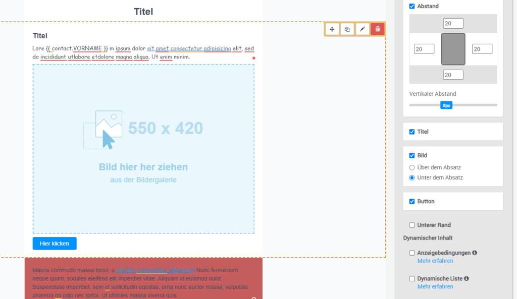 Einfaches hinzufügen von Bild und Button innerhalb eines Textelements bei Sendinblue - Newsletter-Tool Vergleich